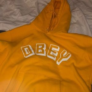 yellow obey hoodie